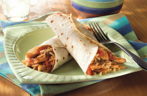 chicken and rice burritos with brown rice and cheese