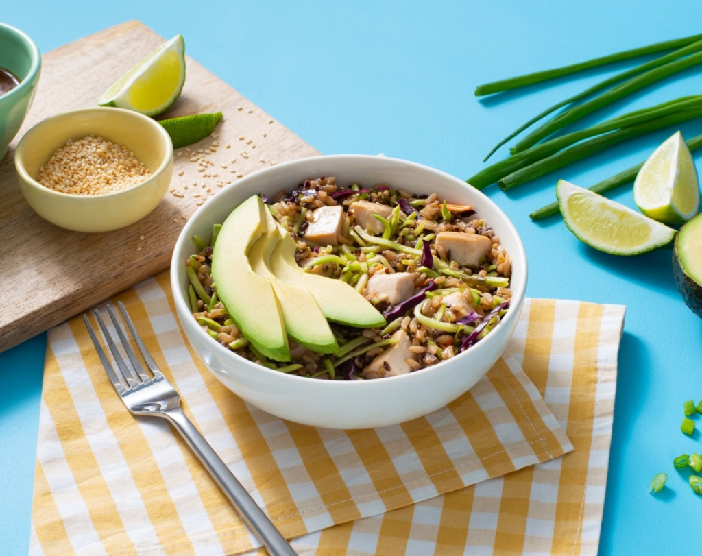 chicken-and-rice-salad-with-broccoli-slaw-asian-dressing-and-avocado