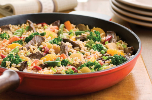 Beef Fried Rice in Red Frying Pan