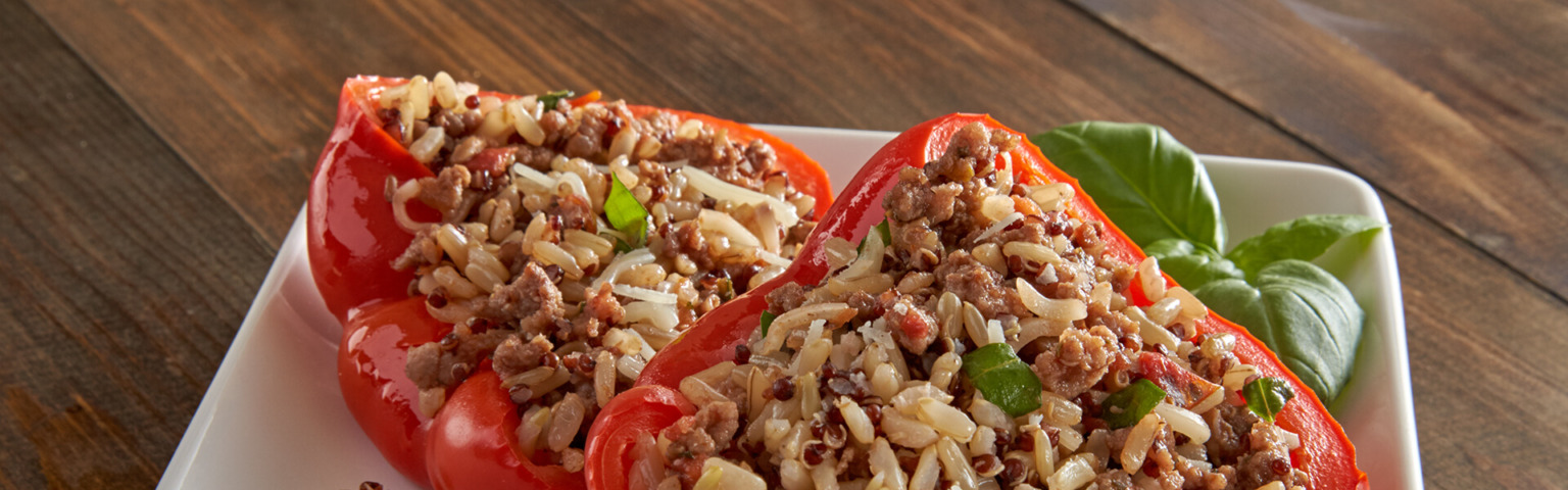 Rice and Quinoa Stuffed Peppers