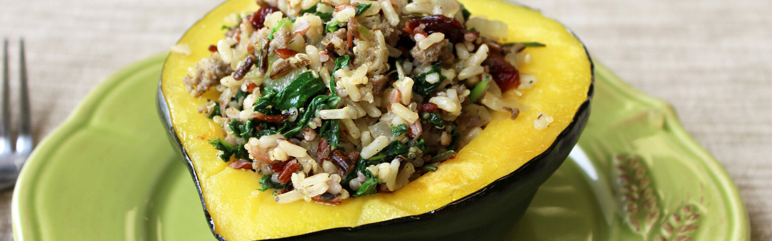 Kale and Sausage Multigrain Stuffed Acorn Squash