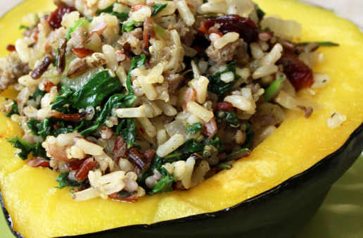 Kale and Sausage Multi-Grain Stuffed Acorn Squash