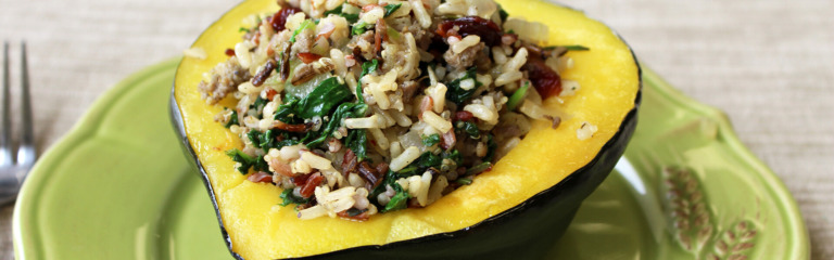 Kale and Sausage Multigrain Stuffed Acorn Squash