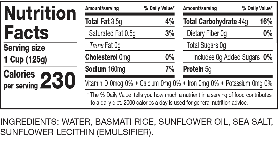 Nutrition Facts Ready to Serve Basmati Rice