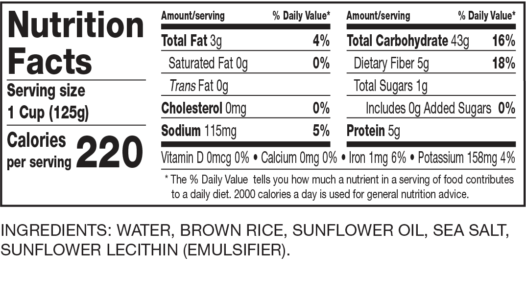 Nutrition Facts Ready to Serve Brown Rice