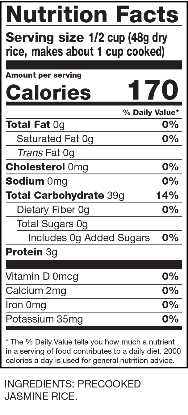 Nutrition Facts Instant Jasmine Rice