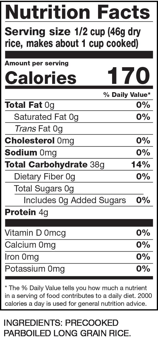 Nutrition Facts Instant Premium Rice