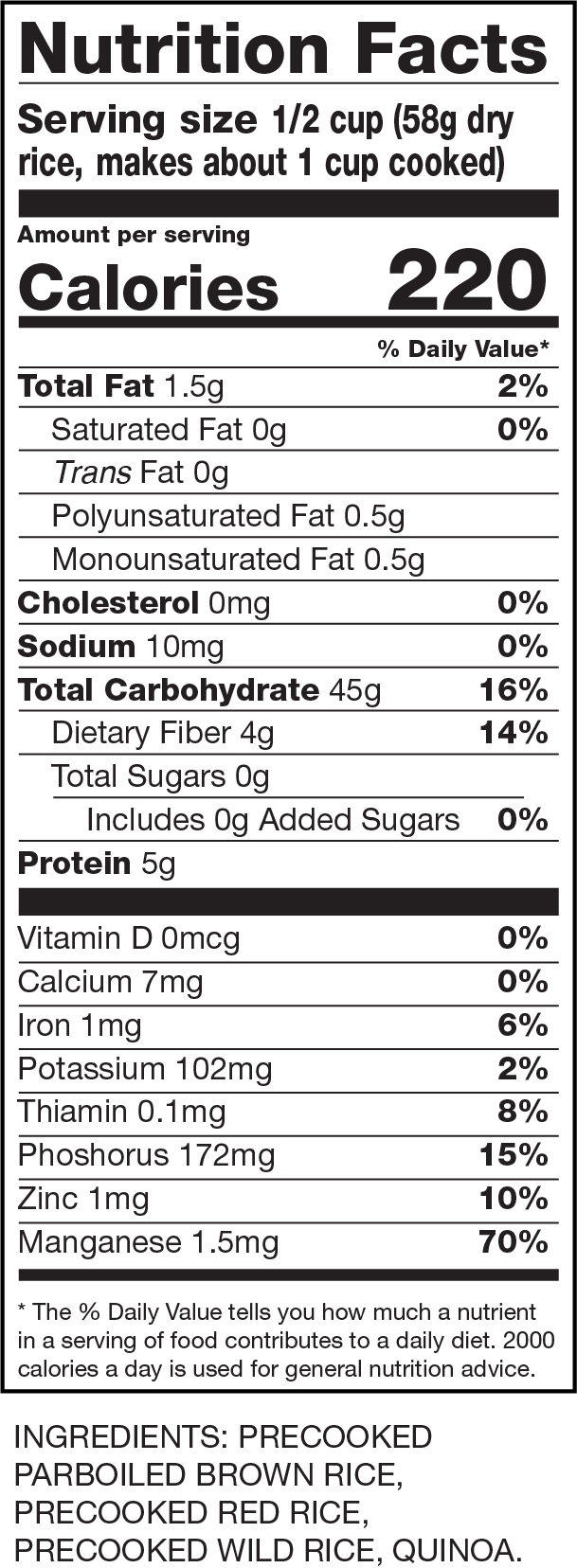 Nutrition Facts Instant Rice & Quinoa