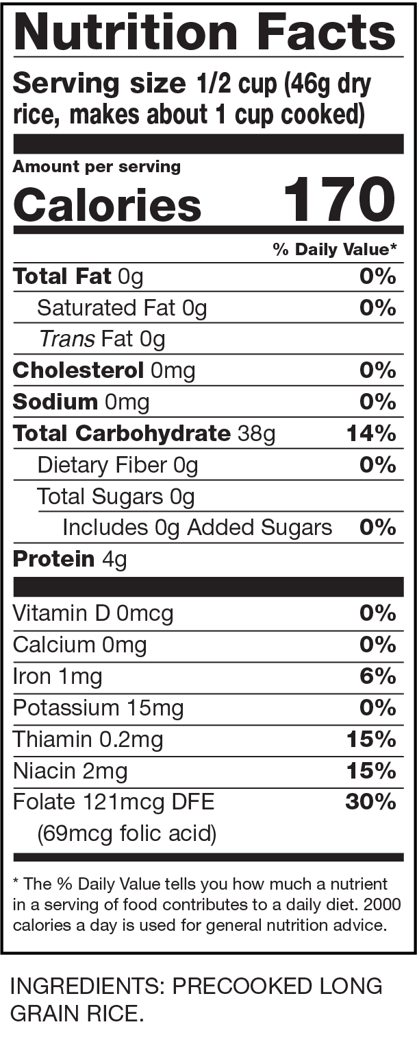 Nutrition Facts Instant White Rice
