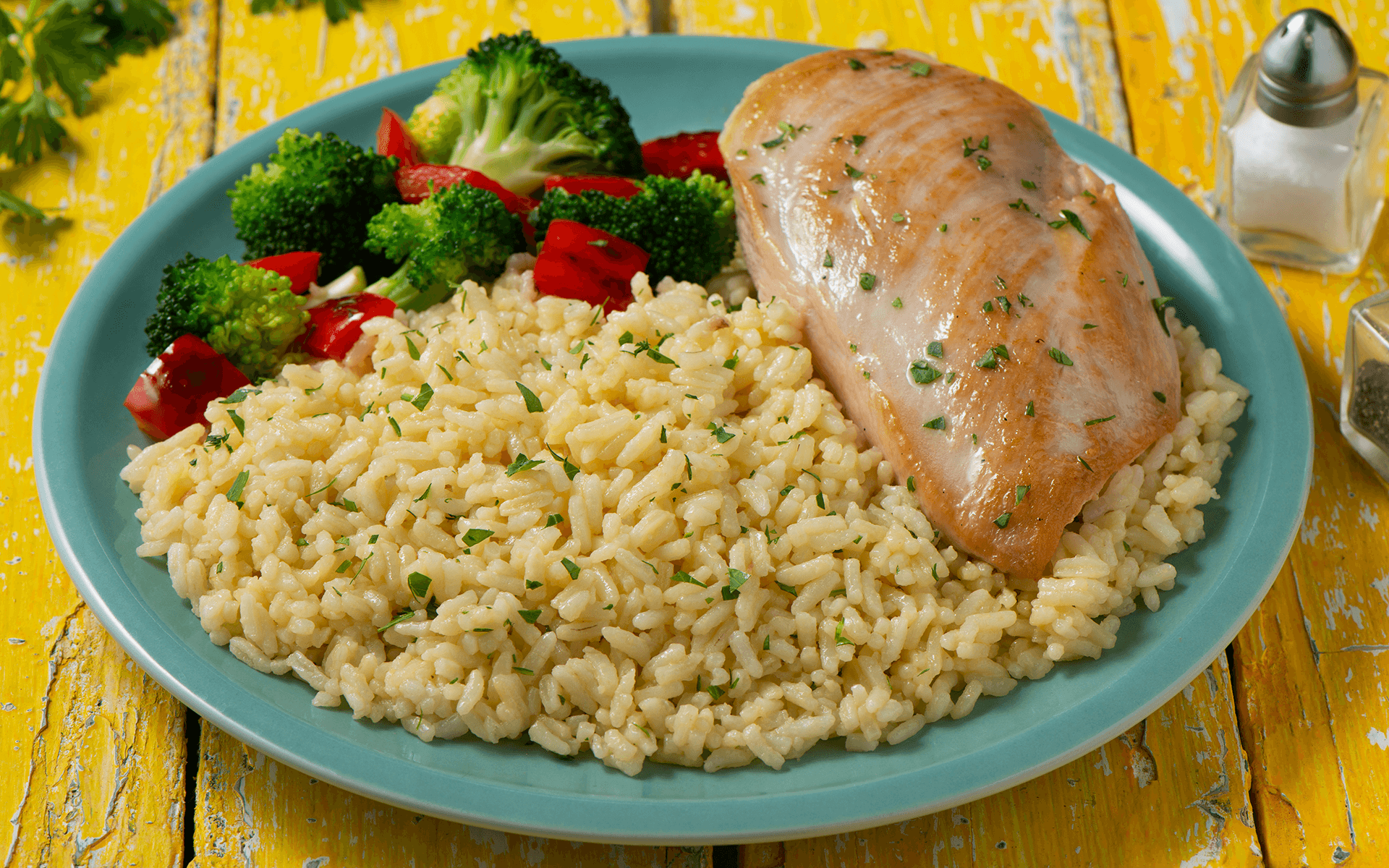 chicken breast and rice dinner with vegetables