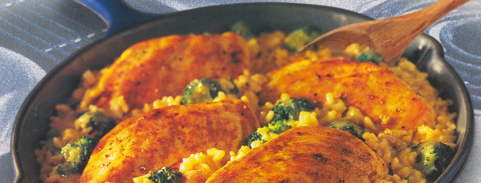 Chicken and Rice with Broccoli Skillet