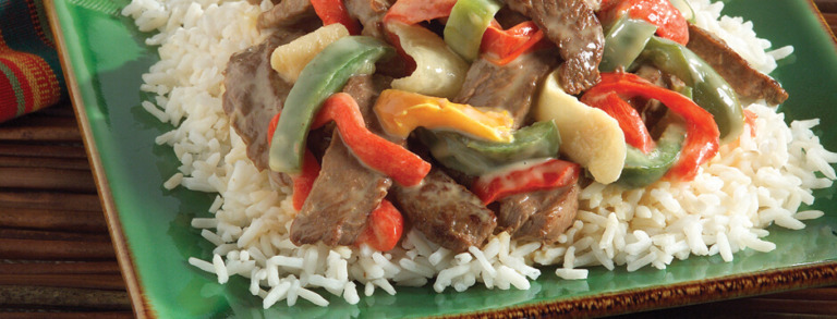 Cheesy Jalapeño Pepper Steak with White Rice