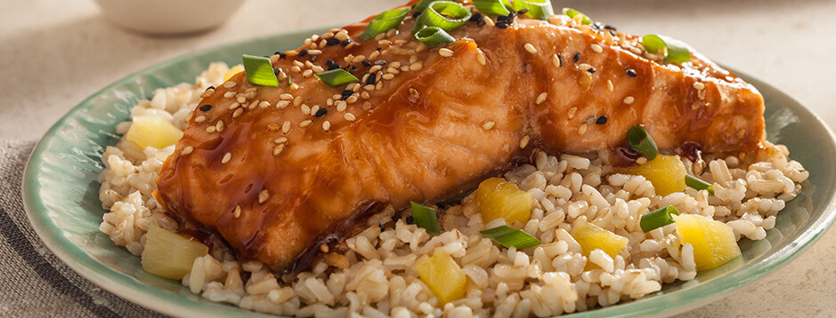 Soy Glazed Salmon with Pineapple Rice