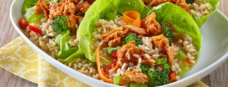 Sweet and Spicy Salmon and Brown Rice Lettuce Wraps