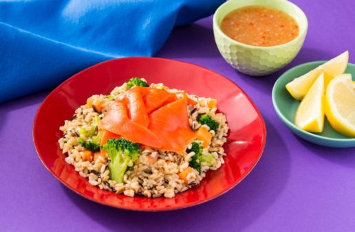 rice-bowl-with-brown-rice-wild-rice-carrots-broccoli-and-shaved-smoked-salmon