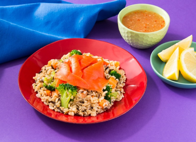 Quick Brown and Wild Rice with Smoked Salmon