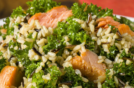 Kale Rice Salad with Smoked Salmon