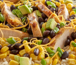 Southwest Style Chicken Bowl with rice