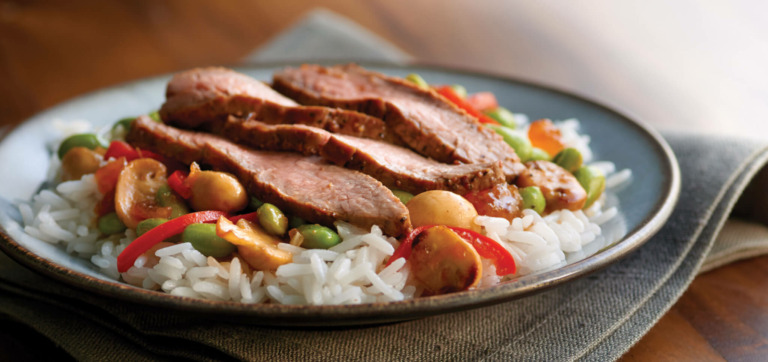 Asian-Style Steak with Mushrooms and Jasmine Rice
