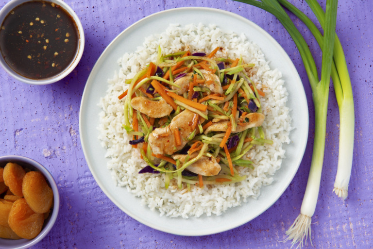 Sweet and Spicy Apricot Chicken With Jasmine Rice