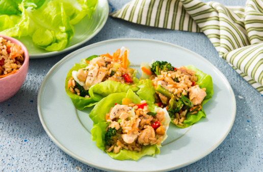 lettuce-wraps-with-brown-rice-and-sweet-and-spicy-salmon