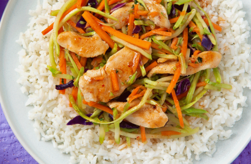 Sweet and Spicy Apricot Chicken with Rice