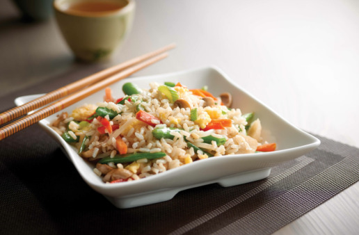 Veggie Fried Rice in Square Bowl with Chopsticks