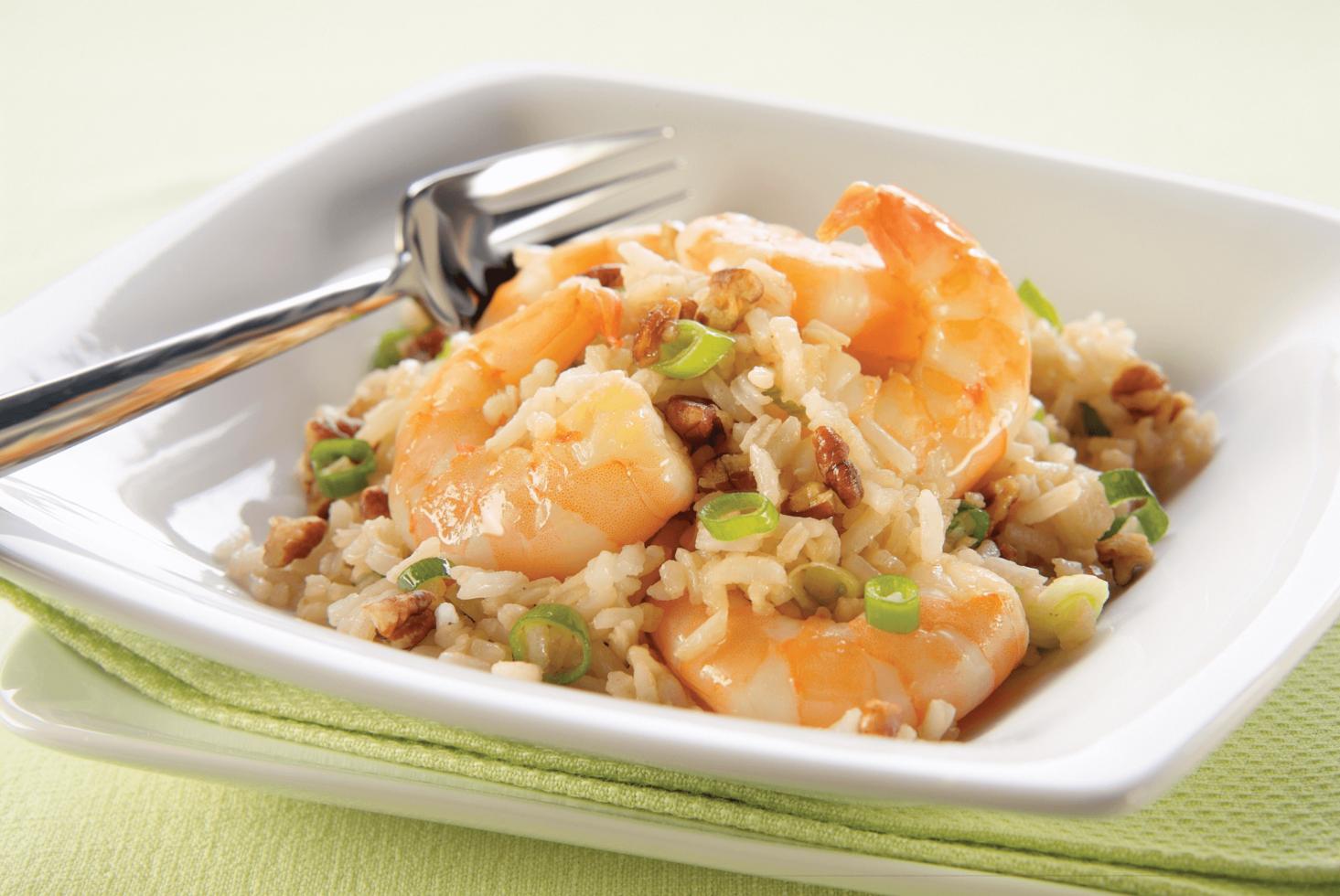 Asian Pecan, Shrimp and Rice Salad