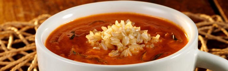 Basil, Brown Rice and Tomato Soup