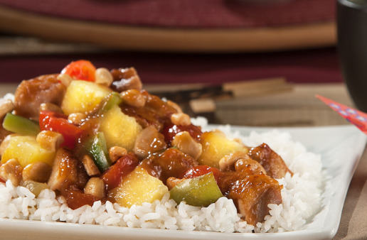 Cashew Sweet and Sour Chicken with white rice