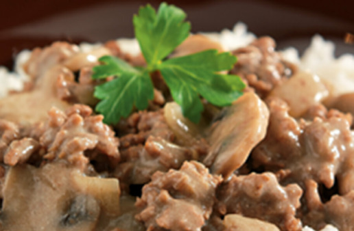 Classic Beef Stroganoff with rice