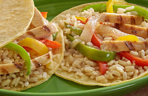 Fajitas with Rice and vegetables