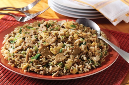 Vegetarian Fast Fried Rice with mushrooms