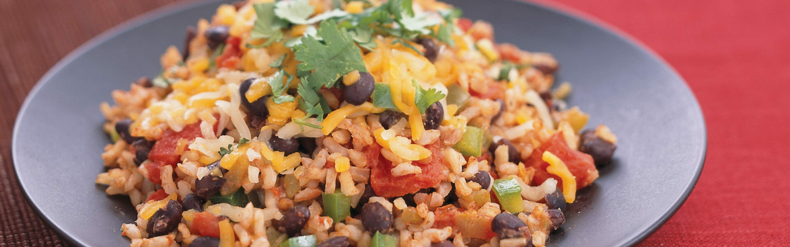 Spicy Rice, Bean and Cheese Skillet