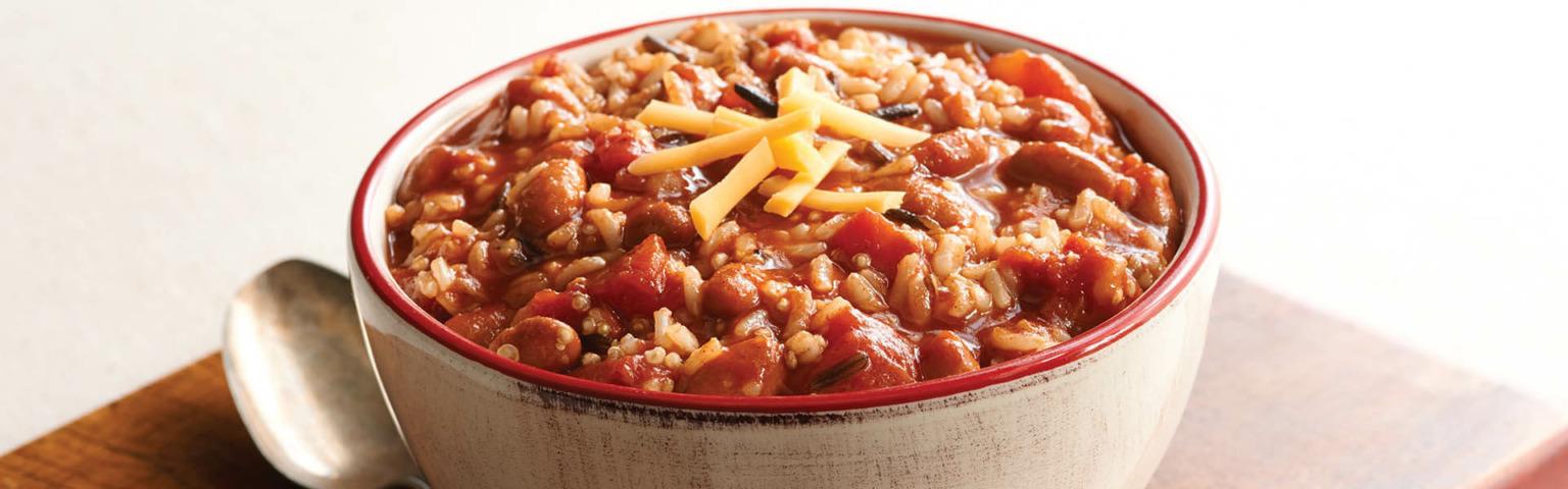 Vegetarian Chili With Rice and Quinoa