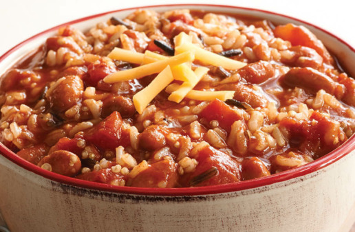 Vegetarian Chili with rice and quinoa