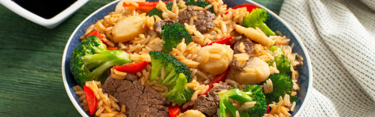 Beef and Broccoli Garlic Rice