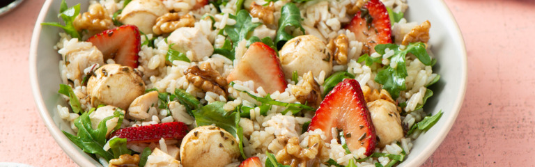 Chicken Caprese and Strawberry Rice Salad