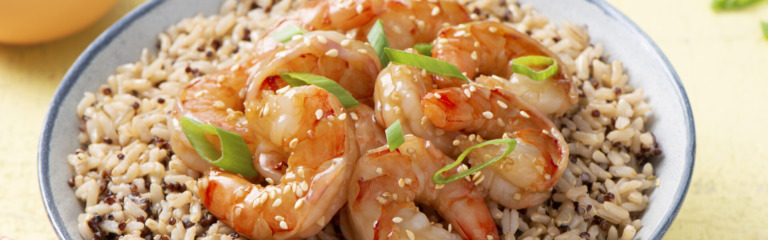 Easy Sesame Hoisin Shrimp with Rice and Quinoa