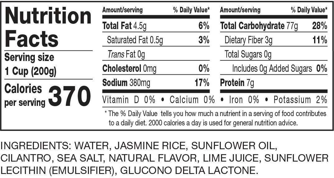Nutrition Facts Ready to Serve Cilantro & Lime Jasmine Rice