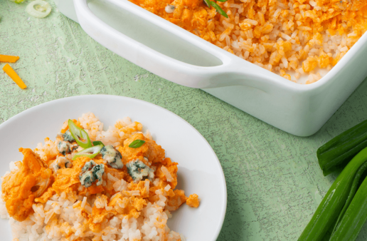 Buffalo Cauliflower Casserole with cheese and rice