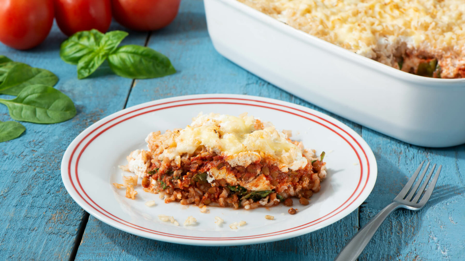 Brown Rice & Lentil Lasagna Casserole