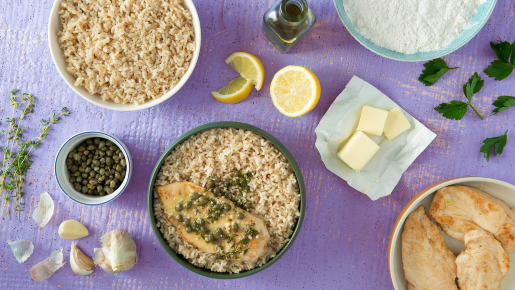 Chicken Piccata with Rice