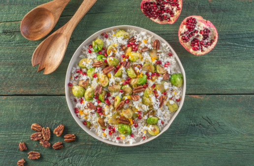 Roasted Brussels Sprouts and Rice with Vanilla Pecans