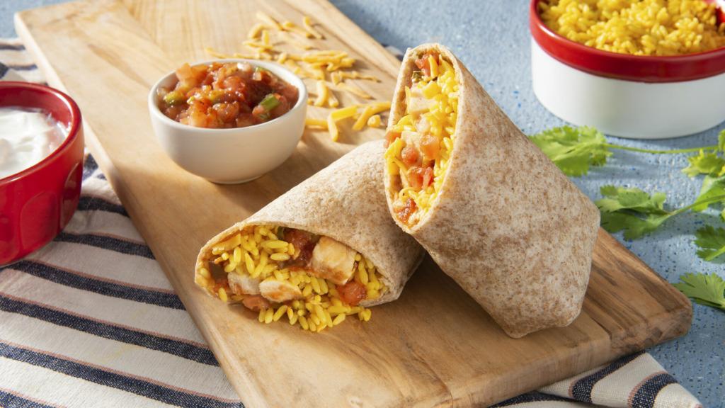 chicken and yellow rice burrito