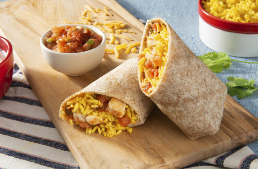 chicken and yellow rice burrito