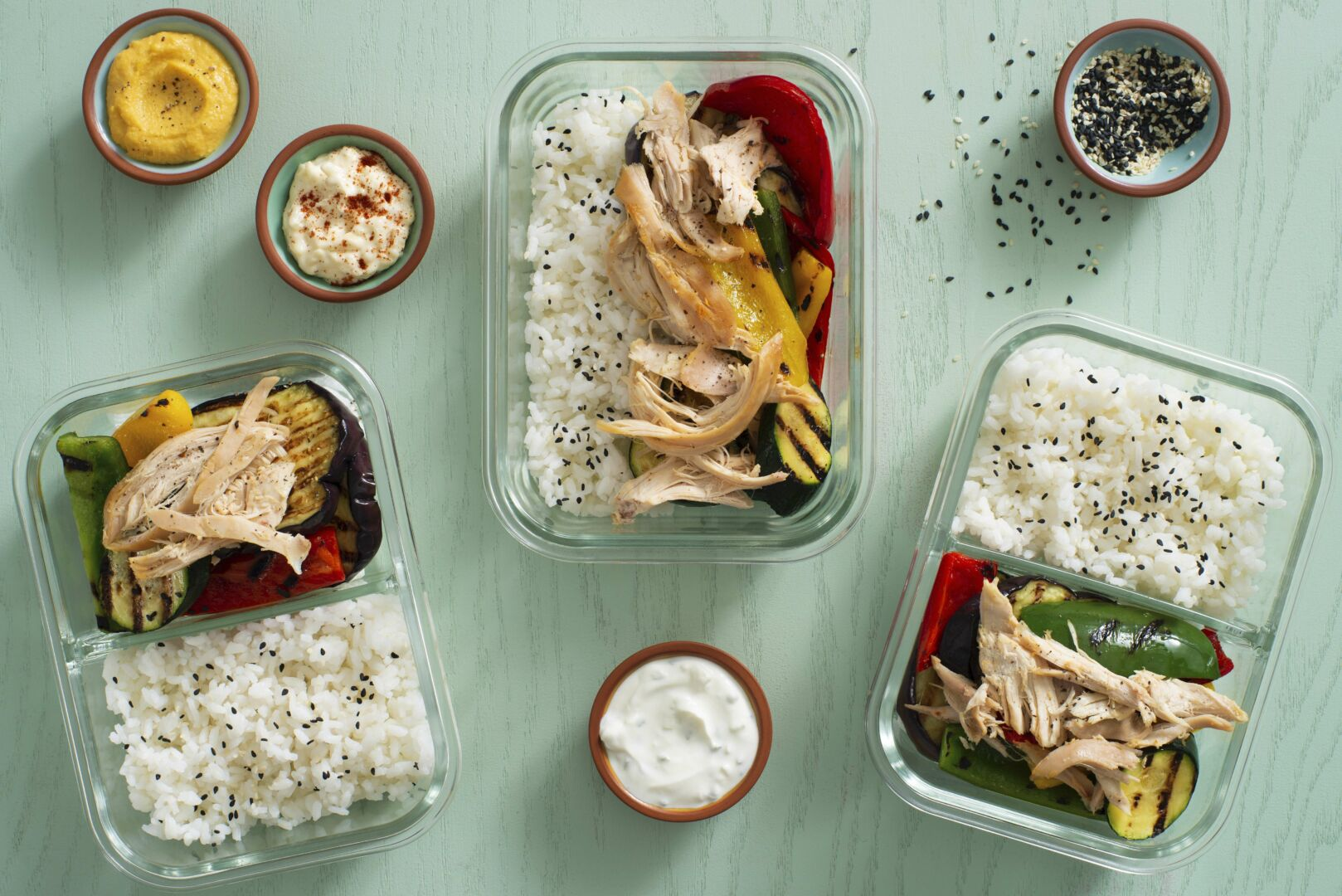 Chicken and rice meals with grilled vegetables