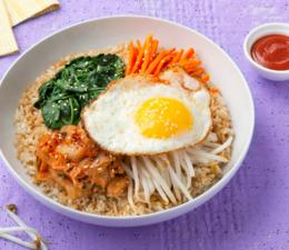 Quick Korean Bibimbap with rice