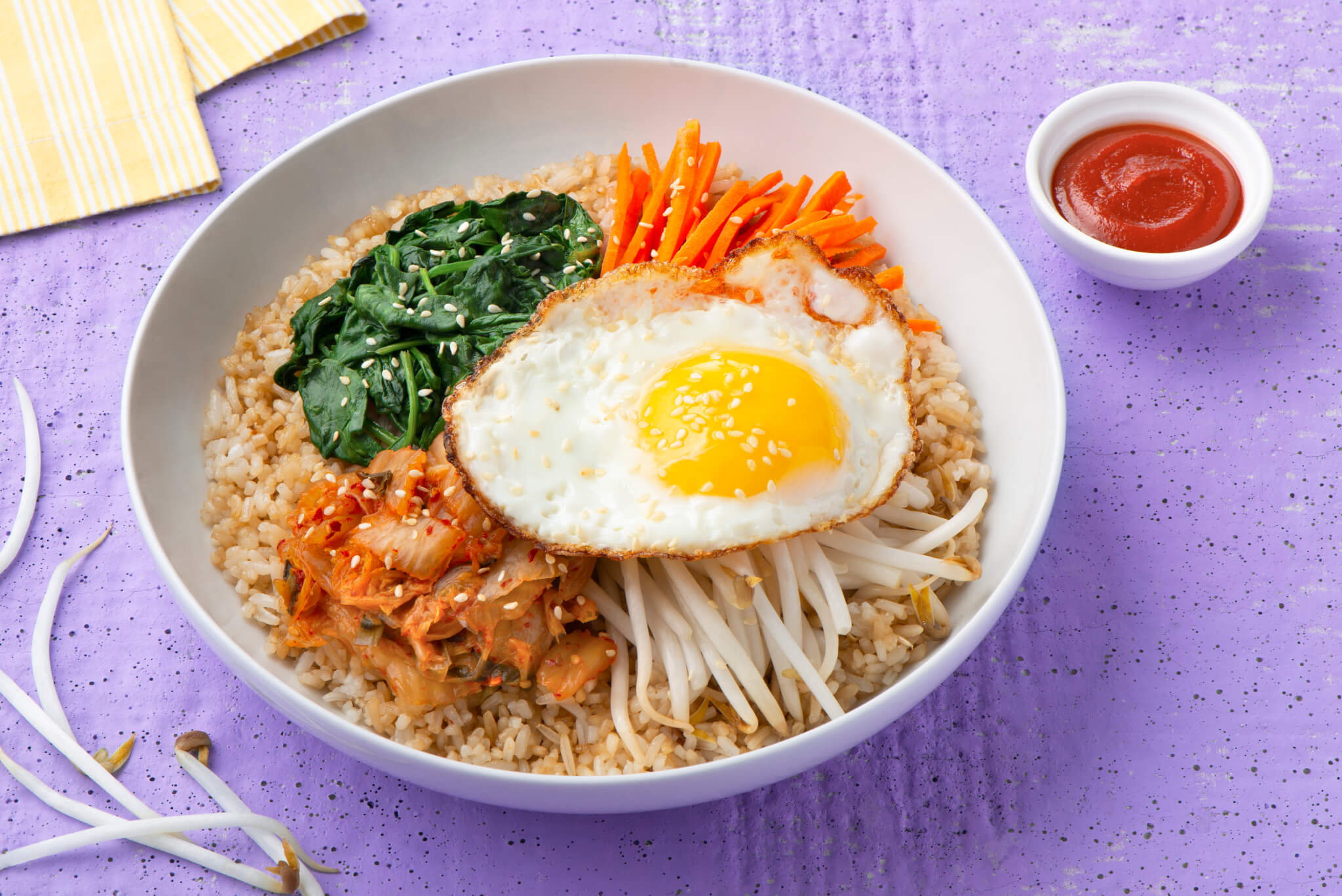 Quick Korean Bibimbap with rice