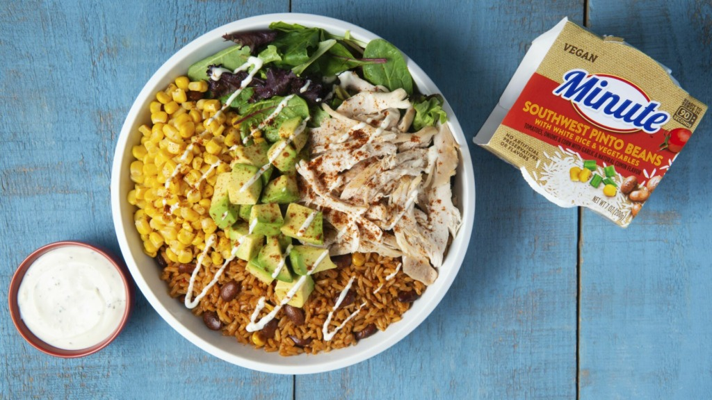 Bbq-chicken-and-rice-bowl-with-southwest-pinto-beans-white-rice-and-vegetables